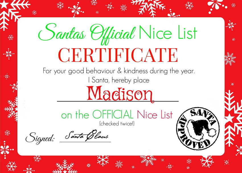 My GBGV Life Madison nice list certificate