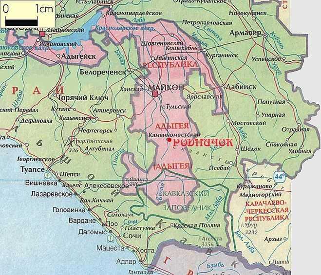 Adygea op de kaart