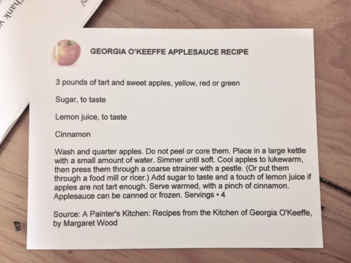Georgia O'Keeffe's applesauce recipe