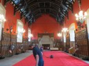 Hoovering in preparation for an event inside the banquet hall