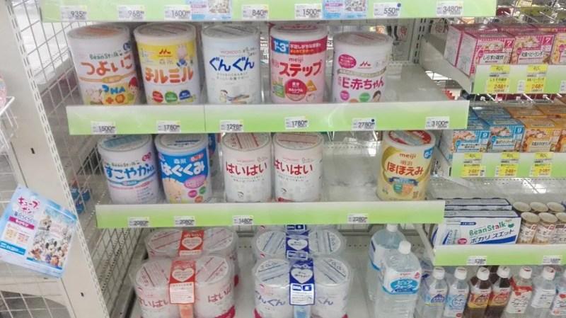 Milk powder in shelf