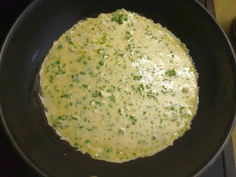 This pancake is ready to be turned