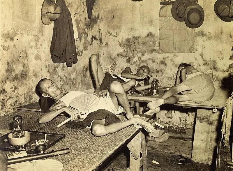Opium den in India