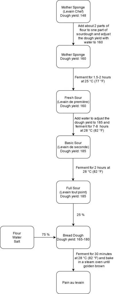 Process flow chart for pain au levain