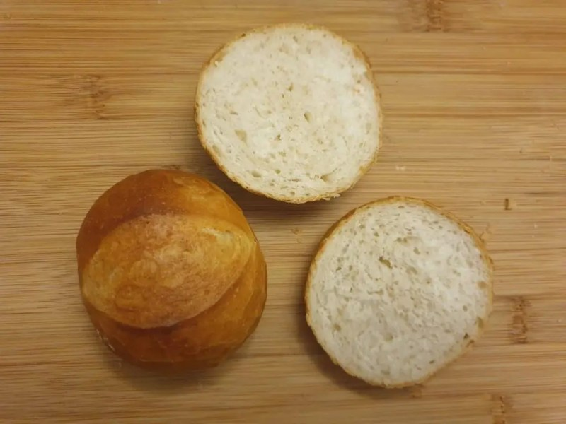 Bread rolls with dough improver