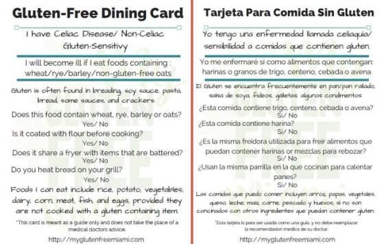 Gluten Free Dining Card