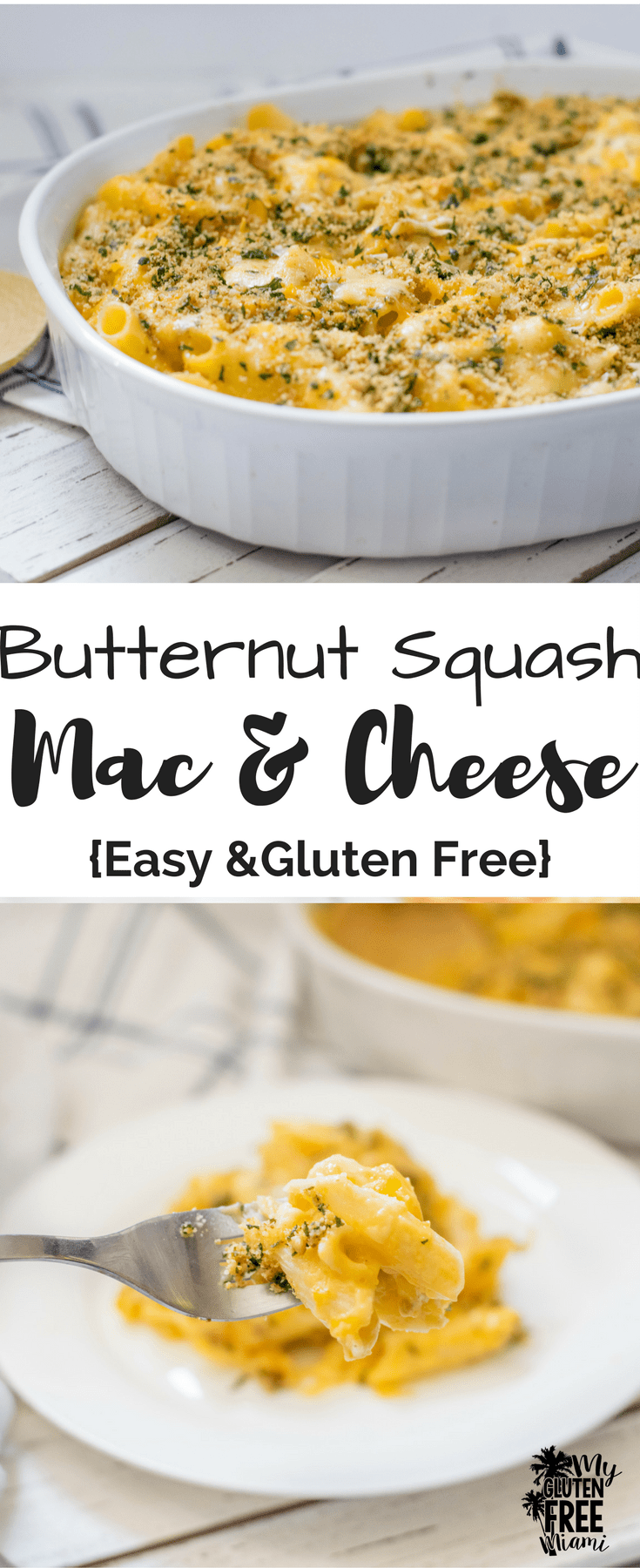 Gluten Free Butternut Squash Macaroni and Cheese has all the deep, creamy flavor of macaroni and cheese with hidden veggies!The perfect fall comfort food. Baked Gluten Free Macaroni and Cheese ready in under 30 minutes.