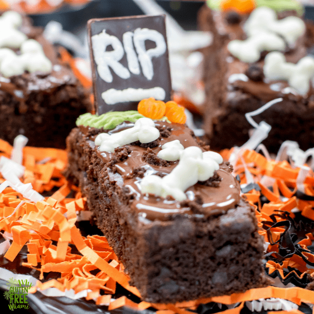 gluten free tombstone brownies spooky halloween treat