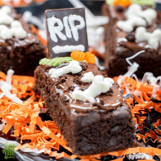 gluten free tombstone brownies spooky halloween treat