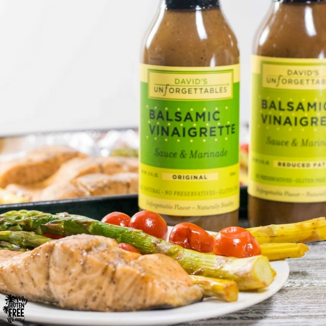 One pan balsamic glazed salmon with David's Unforgettables dressing