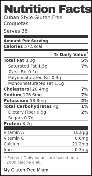 Nutrition label for Cuban Style Gluten Free Croquetas