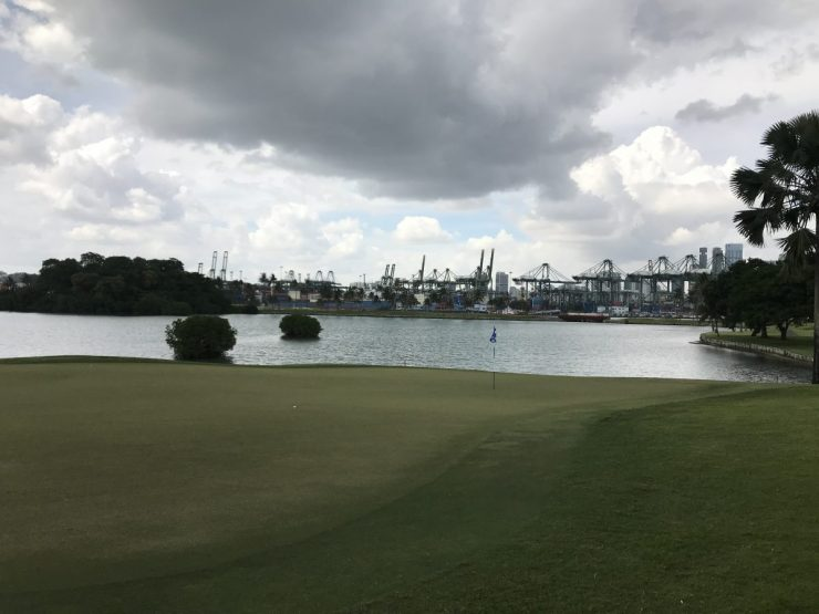 view from back of the green Sentosa serapong