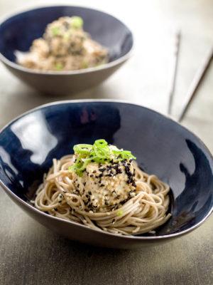 sesame tofu with green tea soba