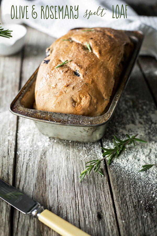 Olive and rosemary spelt loaf, aromatic rosemary with the saltiness of kalamata olives combined in a healthier, quick-to-prepare spelt loaf.