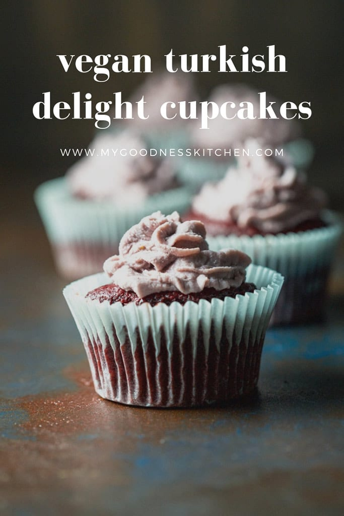 A close up of a red velvet cup cake with text