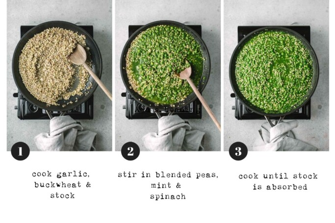 Three images each with a pan of the buckwheat risotto showing the cooking stages of the dish from cooking the buckwheat, stirring in the pea mixture and the finished dish.