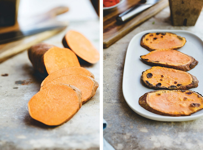 "Process image of the sweet potato cut in to ""toast"" slices with a second image showing the slices after being in the toaster"