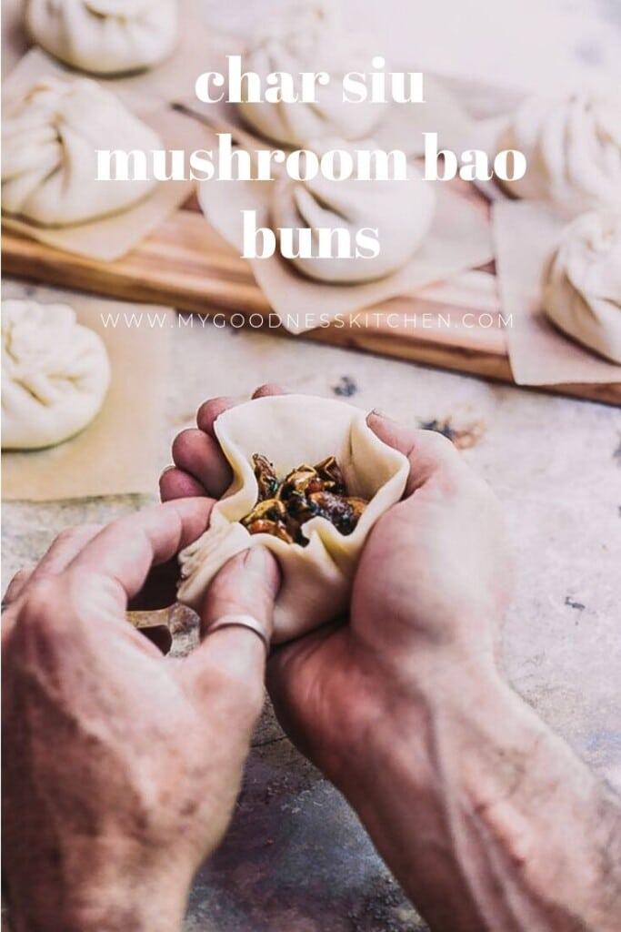 A man making a bao bun with text