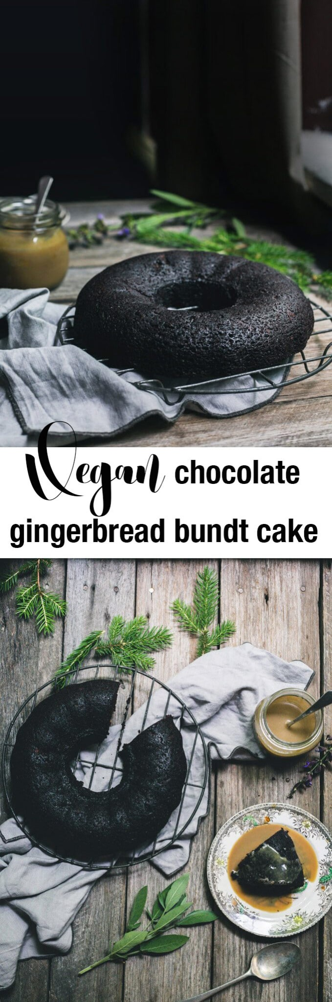 Two images of chocolate bundt cake with text