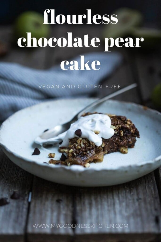 A close up of a slice of pear and chocolate cake in a bowl with text