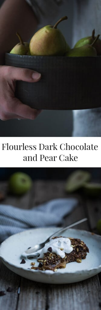 Two images of flourless pear and chocolate cake with text