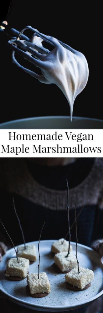 Two different images of homemade marshmallows with text