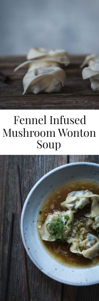 An overhead image of soup with wontons and text.