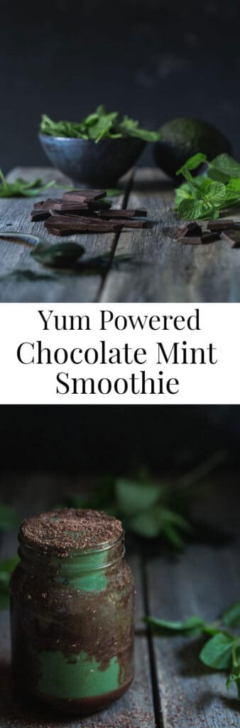 Two images of a chocolate mint smoothie with text