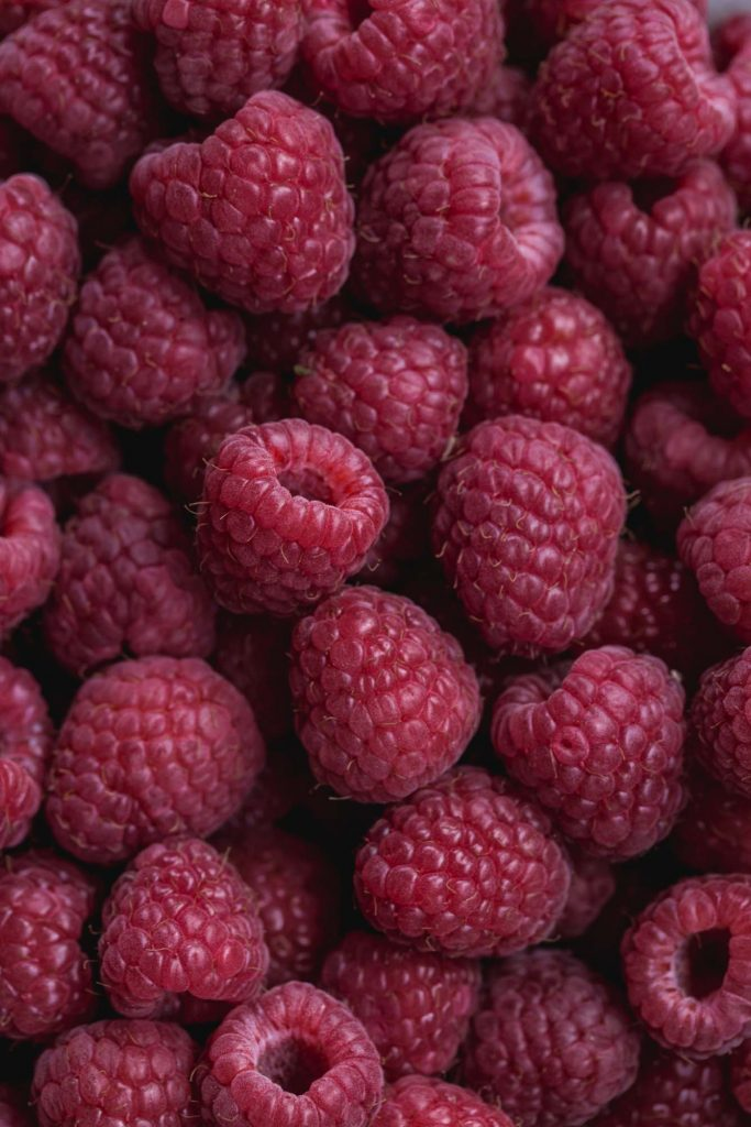 close up image of fresh raspberries