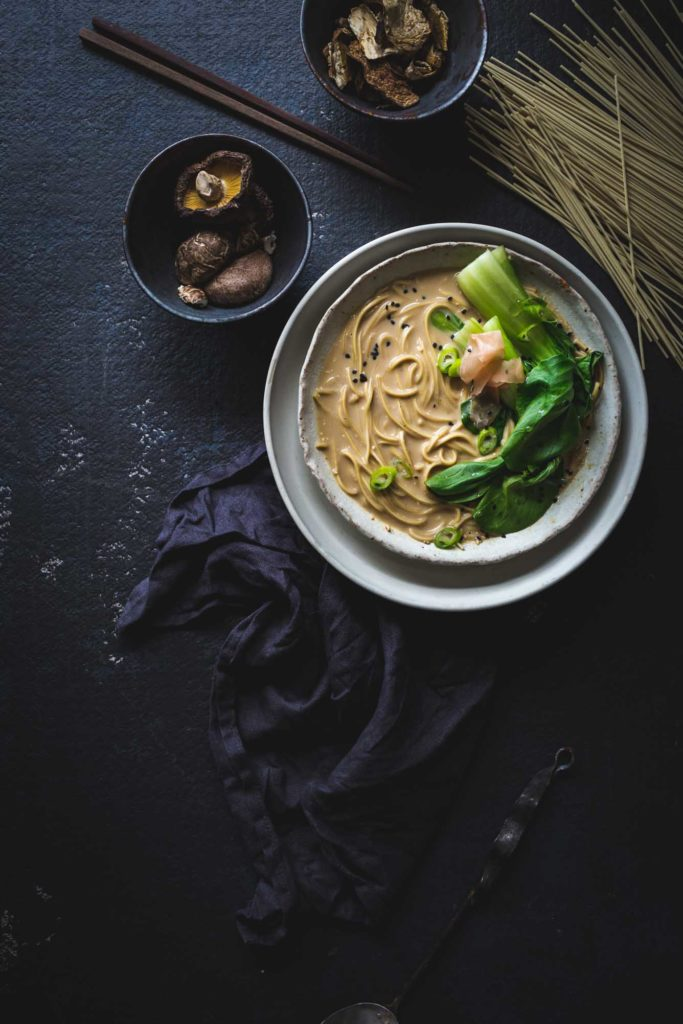 This Tonkotsu-style Lip Smacking Vegan Ramen Noodles recipe creates a full-bodied, creamy bowl that's ready in under an hour.