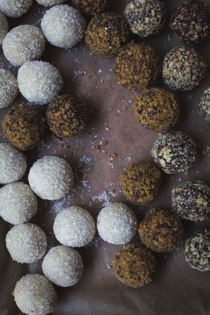 flatlay image of a tray of vegan truffles