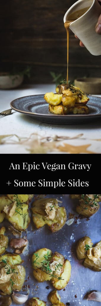 Two images of potato and gravy with text.