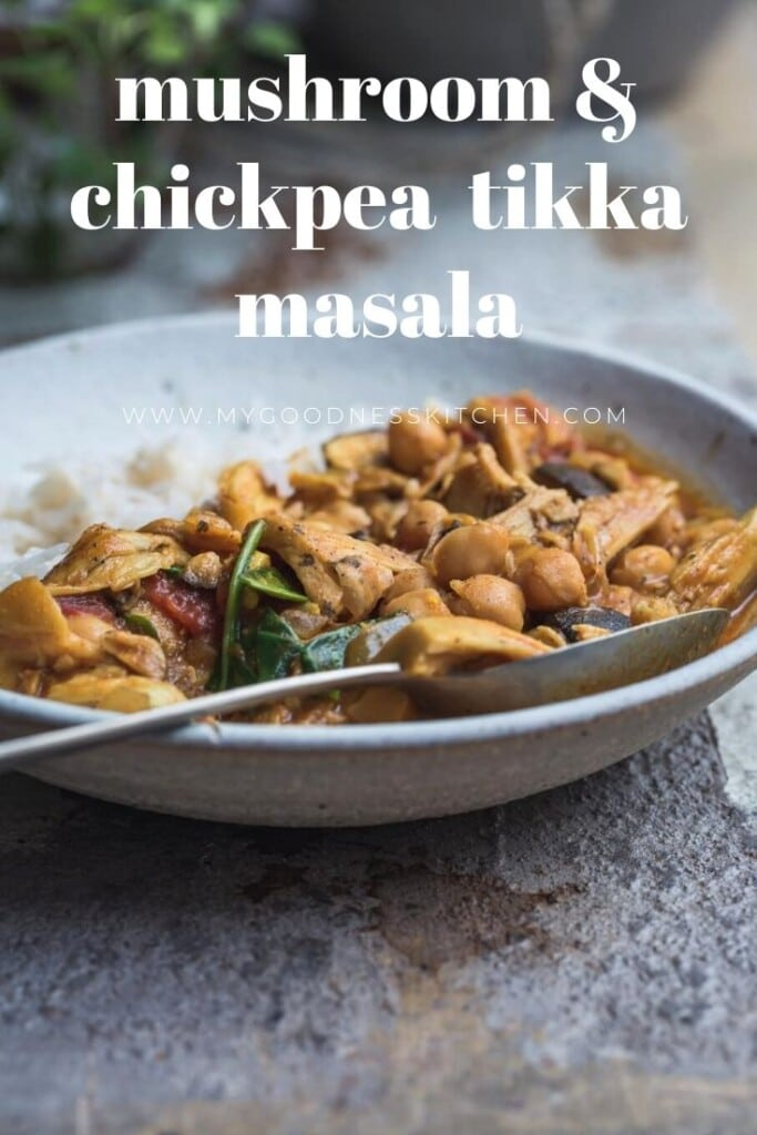 A close-up image of the finished dish - mushroom and chickpea vegan tikka masala in a rustic white bowl served with white rice. Title text overlay in white.
