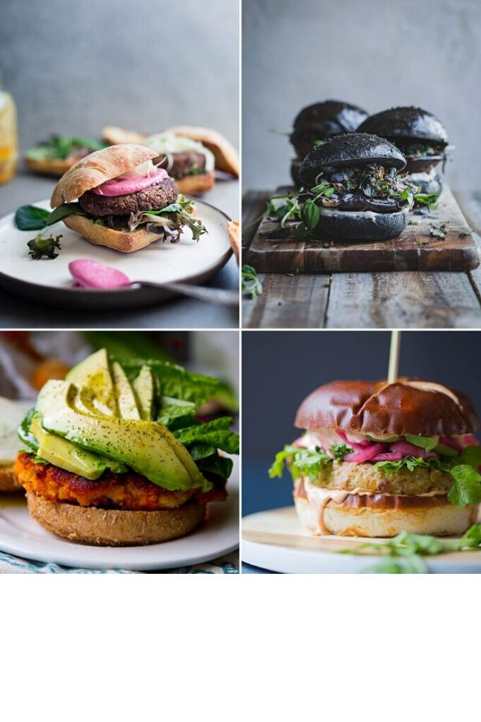 A grid with four different vegan burger images.