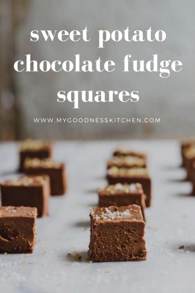 Rows of sweet potato and chocolate fudge cut into squares on a bench with text.