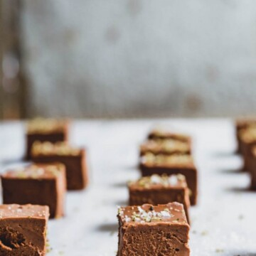 Rows of sweet potato and chocolate fudge on a bench