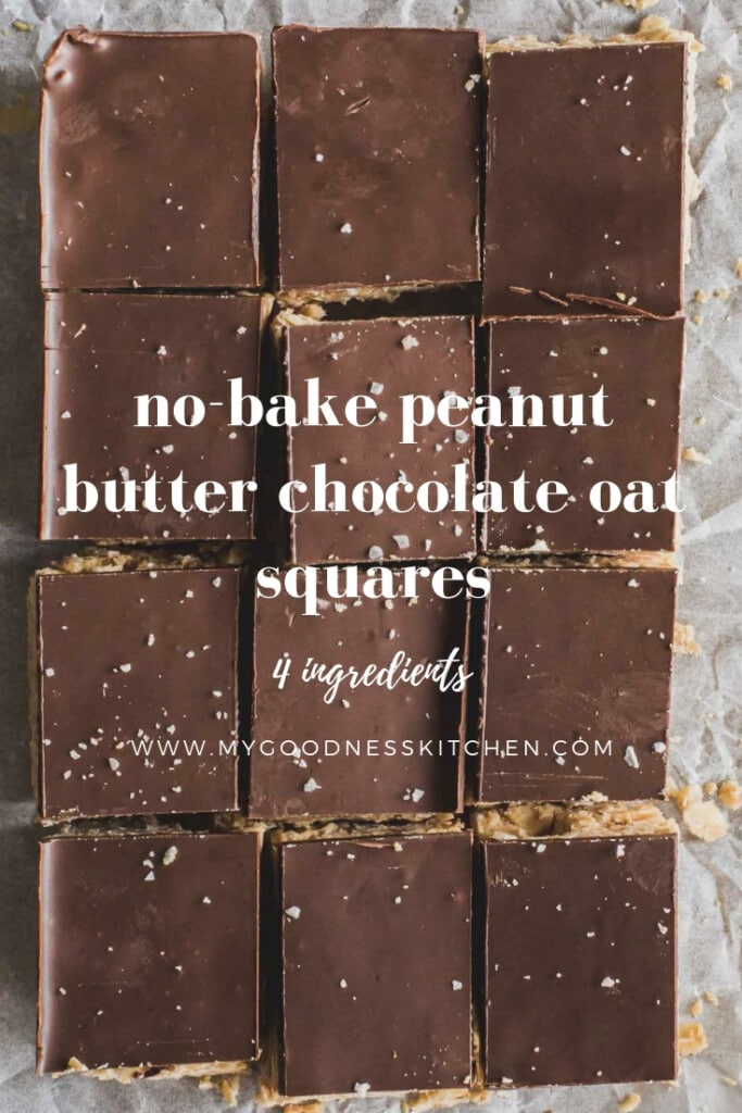 flat lay image of no-cook peanut butter chocolate oat squares with text overlay