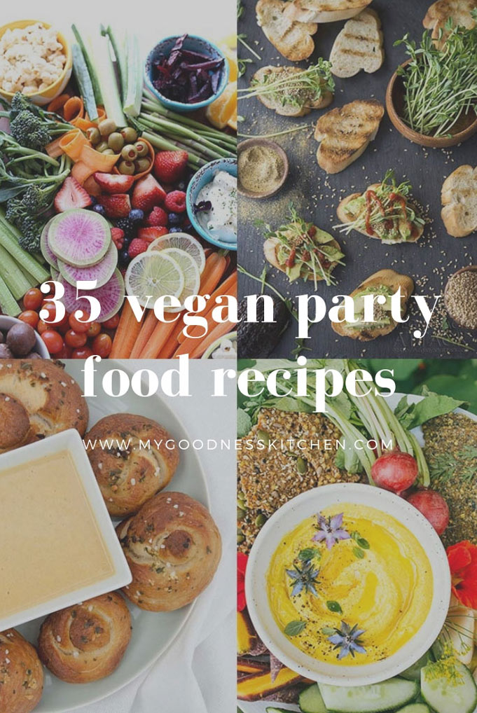 Image divided in to quarters with various vegan party foods in each quarter. Title text overlay in white.