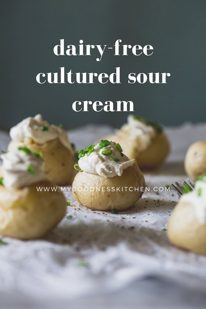 Thick, creamy and perfectly tangy, this dairy-free cultured sour cream takes a little down time to prepare but...it's so worth the wait | my goodness kitchen