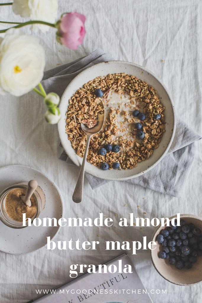 Flat lay image of granola in a bowl with text