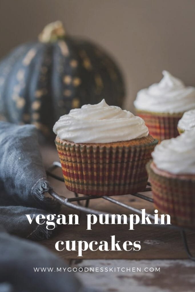 These vegan pumpkin cupcakes are full of warm Autumnal spices and are so light and moist... you won't be able to stop at one | my goodness kitchen