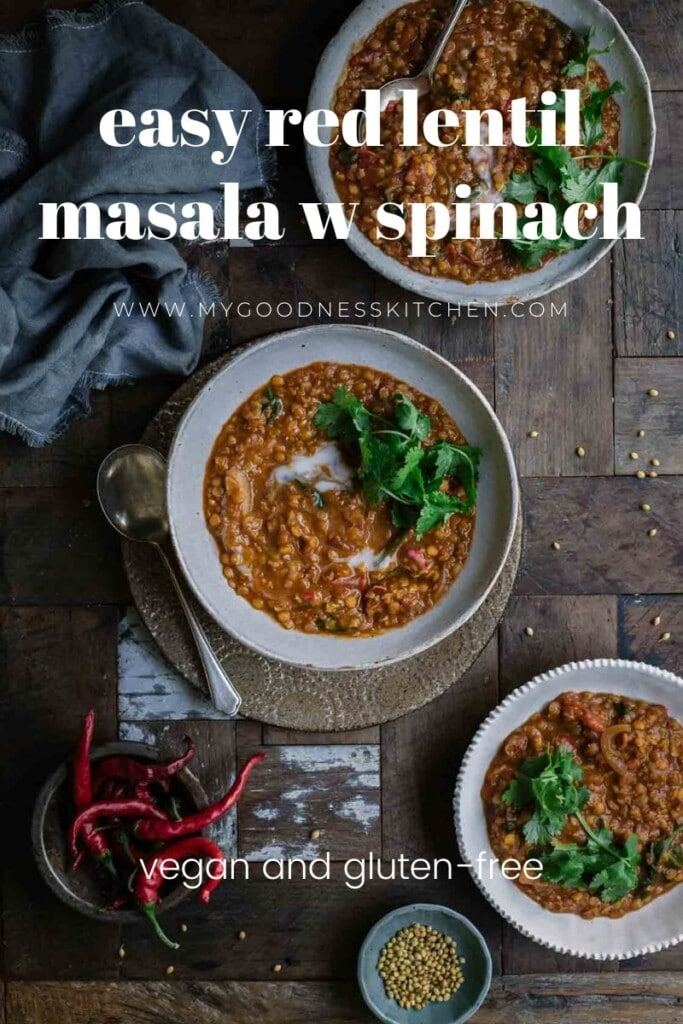 overhead image of three bowls of lentil masala on a rustic wooden table with the title text overlaid in white