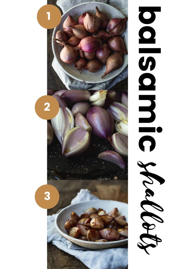 three process images of the balsamic shallots for the white pizza. Image one - the uncut shallots in a rustic white bowl. Image two - the cut shallots in a cast iron skillet. Image three - the finished balsamic shallots in the same white rustic bowl.