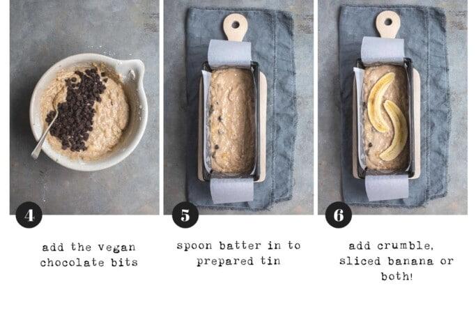 An overhead image of Steps 4-6 of making vegan banana bread