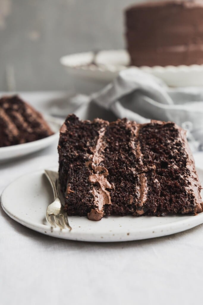 A close up image of a freshly cut slice of vegan chocolate cake with frosting