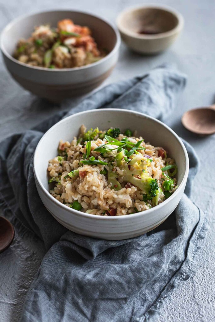 Bowls of vegan fried rice