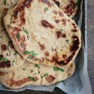 Naan bread in a baking tray