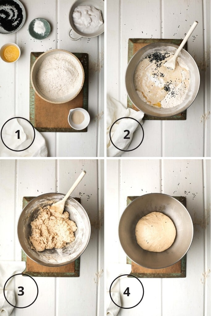 Overhead instructional images showing showing the vegan naan ingredients and the stages of mixing to before proofing.