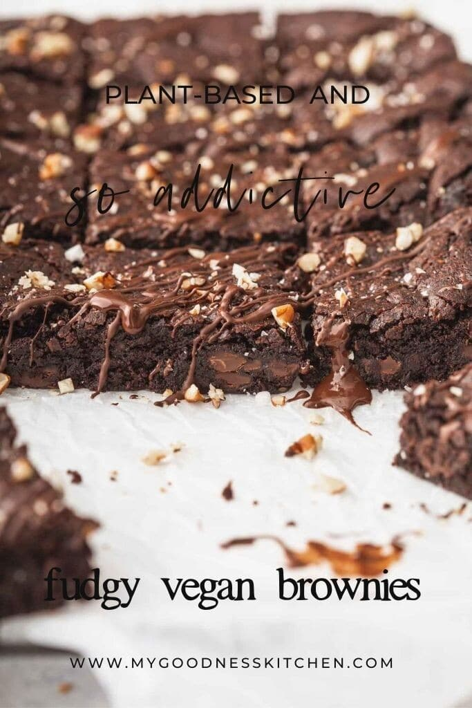 Front on image of squares of vegan brownies