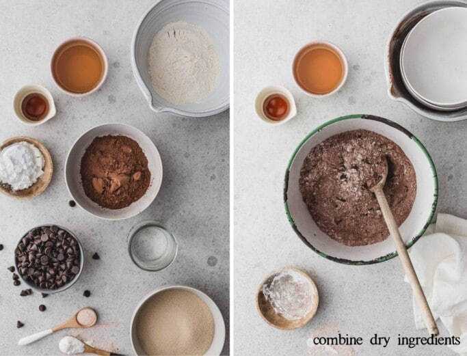 Side by side images of recipe ingredients and stirring